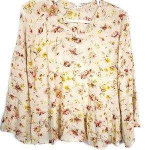 Bailey & Chole Floral Bell Sleeve Romance Blouse M